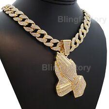 """Hip Hop Prayer hands pendant w/ 18"""" Full Iced Cuban Choker Chain Necklace Set"""