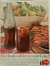 1962 Coca-Cola soda glass bottle spice BBQ spare ribs tossed salad ad