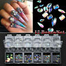 Nail Art Flat Back Oval AB Rhinestone Gems Charms Crystal 3D Decoration Wheel