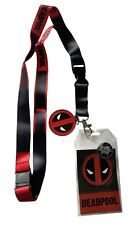 Deadpool Textured Safety Lanyard Id Holder With Metal Charm, Key Fob & Sticker