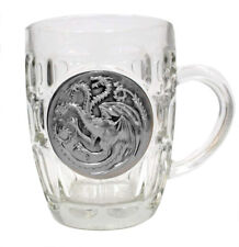 Game of Thrones GOT Glass Crystal Mug Stein with Metal Emblem TARGARYEN Sigil