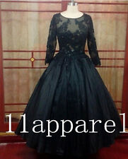 Black Real Sample Long Sleeves Prom Quinceanera Dresses Ball Gown Wedding dress