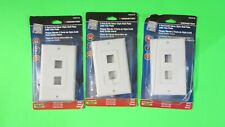 Lot of 3 Monster 2 Port Rj45 Deocr Style Wall Plate w/Trim Plate White #140539