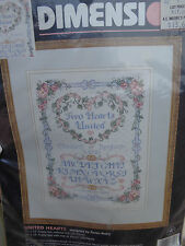 1996 Dimensions TWO HEARTS UNITED Counted Cross Stitch Kit WEDDING RECORD 11X14