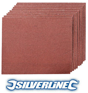 10 x Silverline Emery Cloth Sheets 80 Grit Hand Sanding Metal Light Rust Removal