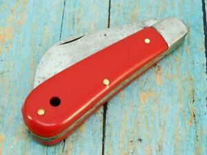 BOKER USA 9215R RED FOLDING HAWKBILL PRUNER JACK POCKET KNIFE VINTAGE KNIVES