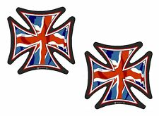 2x Sml IRON CROSS & Union Jack British Flag Retro Biker vinyl car Helmet Sticker