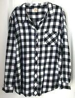 Faded Glory Women's 3XL Plaid  Black & White Long sleeve Flannel Shirt
