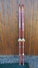 """Vintage Wooden 77"""" Long Skis Red + WHITE Finish Signed ARTIS Great Decoration"""