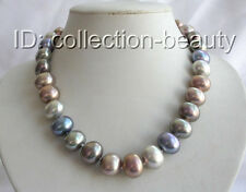 stunning big 15mm baroque multicolor south sea shell pearl necklace m721
