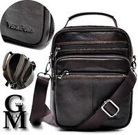 Borsello uomo tracolla borsa VERA PELLE lavoro vintage tasche zip marrone nero