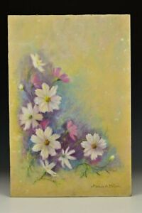 Signed Marion H Miller Pastel Still Life Painting White and Pink Flowers