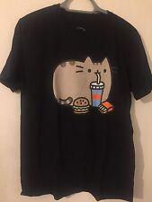 Pusheen Cat Kitten Burger T-shirt Top Kawaii Cartoon Food Black Gift 8 10 12 M
