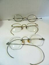 Three Pair Of Vintage Eyeglasses Ao 12K G.F. Antique And Hexagon For Parts