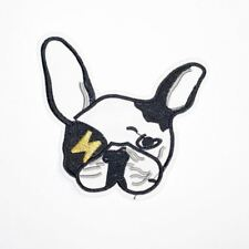 Funky Bull Dog Head (Iron On) Embroidery Applique Patch Sew Iron Badge