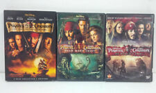 Pirates of the Caribbean Movies 1, 2, 3 Dvd Lot Collection 4 Dvds Very Good