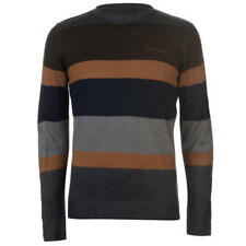 Pierre Cardin Large Stripe Knitted Jumper Grey Brown Small Td083 QQ 08