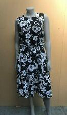 Ladies Black & White Floral Linen Mix Sleeveless Dress UK Size 16 NEW (R/05)KW