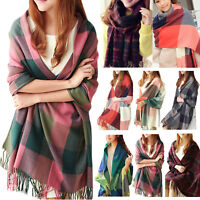 Women Pashmina Winter Warmer Plaid Warm Shawl Cashmere Wrap Stole Long Scarves