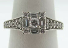 Baguette Diamond Engagement Ring Size 8 Estate 10k White Gold Natural Round