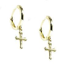 Mens Gold Hip Hop Solid Small Cross Dangle Mini Drop Huggie Clip Hoop Earrings