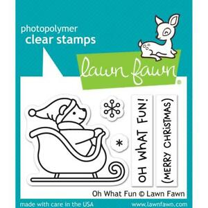 Crafts LF Clear Stamp Set Oh What Fun! Santa Bear Sleigh Merry Christmas Flakes