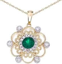14k Dos Tonos Oro Redondo Esmeralda & Diamante filigrana colgante (cadena