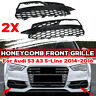 Glossy Black Fog Light Lamp Cover Grill Grille HONEYCOMB For Audi S3 A3