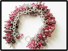 Ready TO ChaCha? LT Lavender & DEEP Pink HANDCRAFTED Charm BRACELET-Vintage BEAD