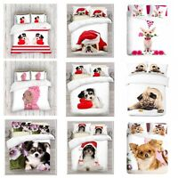 UK Made 3D Love Dog Design Photo Digital Duvet Quilt Cover With Pillowcases