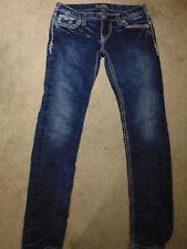 Silver AIKO Flap Skinny  Women's Distressed jeans 27W L31