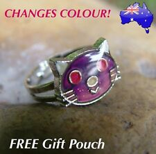 Kitty Cat Mood Ring Temperature Emotion Feeling Colour Changing Adjustable Ring
