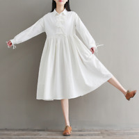 Womens Cotton Linen A Line Pleated Shirt Dress High Waist Long Sleeve Vintage