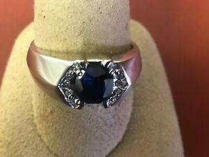 10K Solid White Gold  Sapphire with diamonds Men's Ring Size 10.5