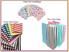 50 x Candy Stripe Paper Pick n Mix Birthday Party Gift Bags - You Choose Design