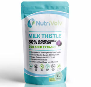 Milk Thistle 2000mg Extract - 80% Silymarin - Detox, Liver Support - 90 Capsules
