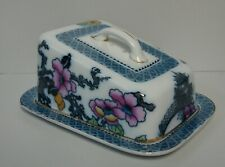 Keeling & Co PAGODA Covered Cheese Dish FLOW BLUE ACCENTS