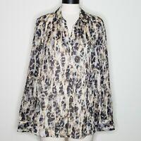 Loft Ann Taylor Semi Sheer Long Sleeve Shirt Top Blouse Size Large