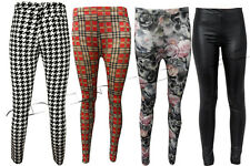 NEW WOMENS LADIES WET LOOK CHECK PRINT ELASTICATED WAIST LEGGINGS SIZES 8 - 14