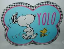 You Only Live Once Peanuts Dancing Snoopy YOLO Tin Metal Sign-New