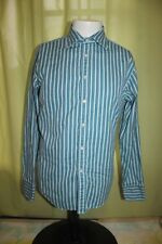 Zara Man Teal Green Stripe Dress Shirt Size Large Made in Portugal