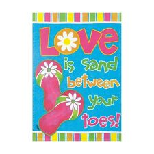 "LOVE IS SAND 12.5"" X 18"" GARDEN FLAG 25-1737-34 RAIN OR SHINE SUMMER SEASONAL"