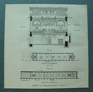 SHA) Wien 1909 Markthalle Hauptzollamt Bahnhof Architektur Österreich 18x18 cm