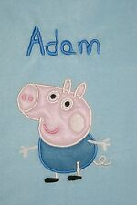 George Pig Personalised and Applique Super Soft Fleece Baby Blanket