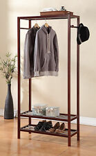 "2 Tier Shelves Shoe Garment Coat rack Hanger Wood Walnut Finish 65""H X 31.5""W"