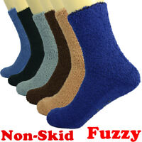 3-10 Pairs For Mens Soft Cozy Fuzzy Socks Non-Skid Solid Plain Home Warm Slipper
