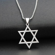 Titanium Steel Pendant Star of David Hexagram Necklace Silver Plated Chain Gifts