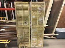 """GREAT pair victorian louver house window shutters old yellow paint 69.5"""" x 20"""""""
