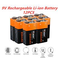 9V Block 850mAh Li-ion 6F22 Wiederaufladbare Batterie Ladegerät für Rauchmelder