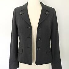 Ann Taylor Loft Womens Blazer Jacket Sz 4 Career Casual Dark Gray Lined EUC